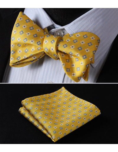 Yellow, Blue Check Silk Bow Tie Set