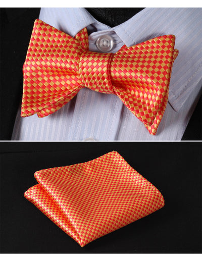 Orange, Yellow Check Silk Bow Tie Set