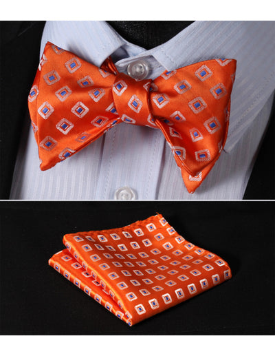Orange, Blue Plaid Silk Bow Tie Set