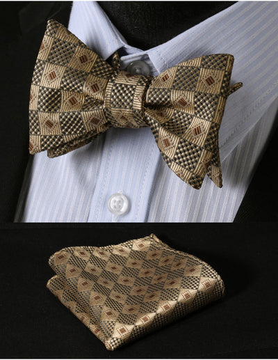 Gold, Brown Check Silk Bow Tie Set