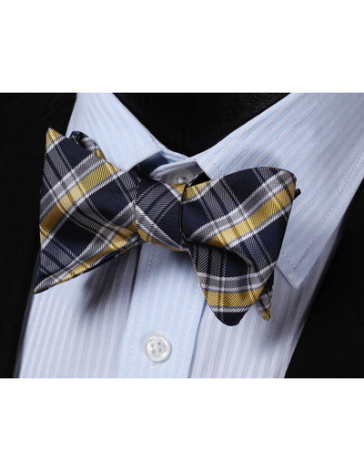 Yellow, Navy Blue Check Silk Bow Tie Set
