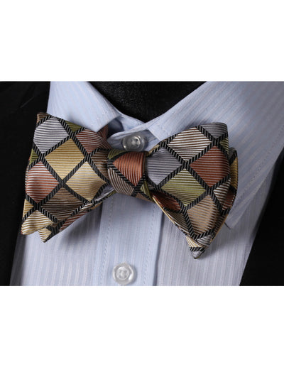 Green, Brown Check Silk Bow Tie Set