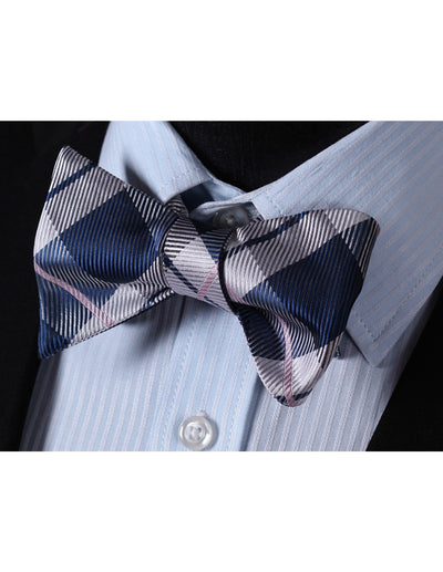 Blue, Gray, Pink Check Silk Bow Tie Set