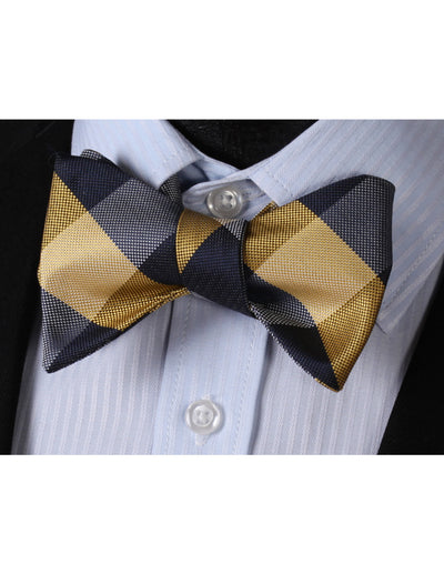 Yellow Navy Blue Check Dots Silk Bow Tie Set