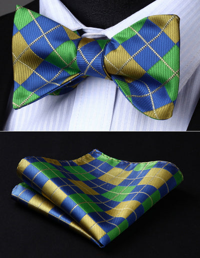 Blue, Green, Yellow Check Silk Bow Tie Set