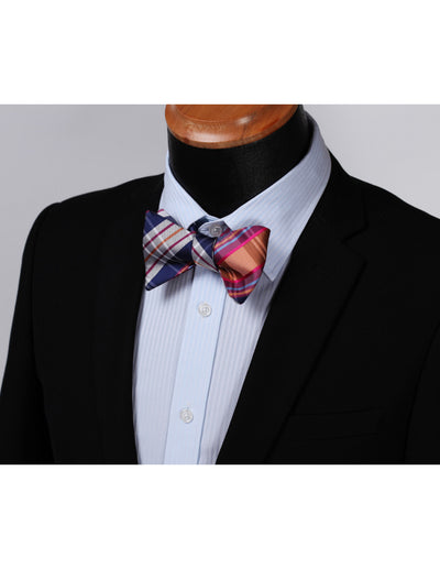 Pink, Orange Check Silk Bow Tie Set