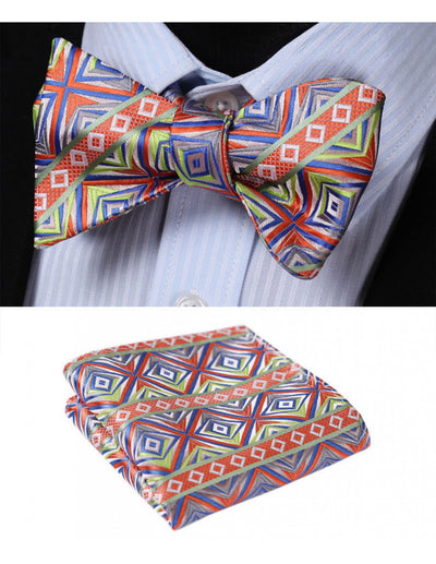 Orange, Green, Blue Plaid Check Silk Bow Tie Set