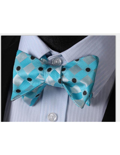 Aqua, Green, Black Polka Dots Silk Bow Tie Set