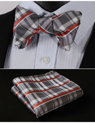 Gray, Orange Check Silk Bow Tie Set
