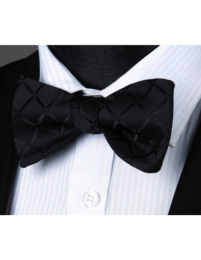 Black Check Silk Bow Tie Set