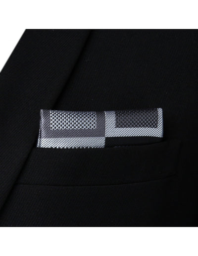 Gray, Black Check Silk Bow Tie Set