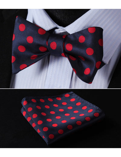 Navy Blue Red Polka Dots Jacquard Silk Bowtie Set