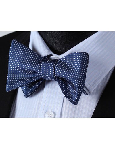 Blue Small Polka Dots Woven Jacquard Silk Bow Tie Set
