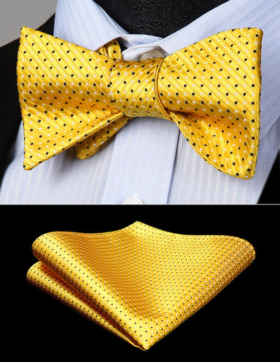 Yellow And Black Small Polka Dots Silk Bow Tie Set
