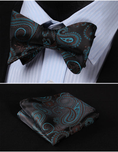 Green, Black Paisley Silk Bow Tie Set