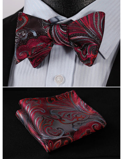 Red Gray Floral Jacquard Silk Bow Tie Set