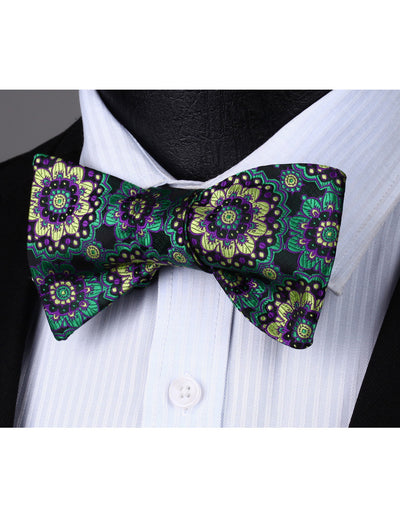Green Purple Floral Woven Jacquard Silk Bowtie Set