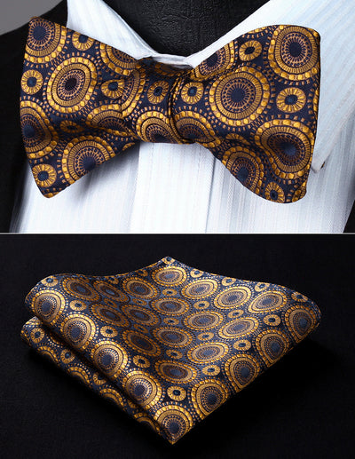 Gold Navy Blue Floral Woven Jacquard Silk Bowtie Set
