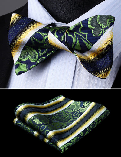 Blue, Green, Yellow Floral Silk Bow Tie Set