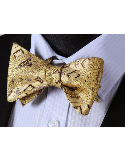 Yellow, Gold, Brown Paisley Silk Bow Tie Set