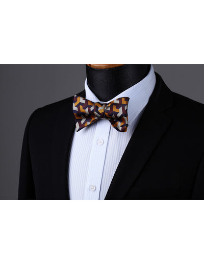Orange, Brown, Gray Gird Silk Bow Tie Set