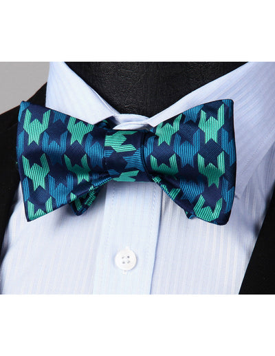 Green Blue Floral Silk Bow Tie Set
