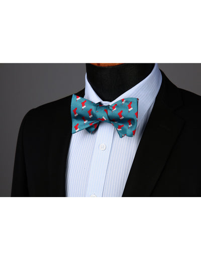 Christmas Aqua Silk Bowtie Set