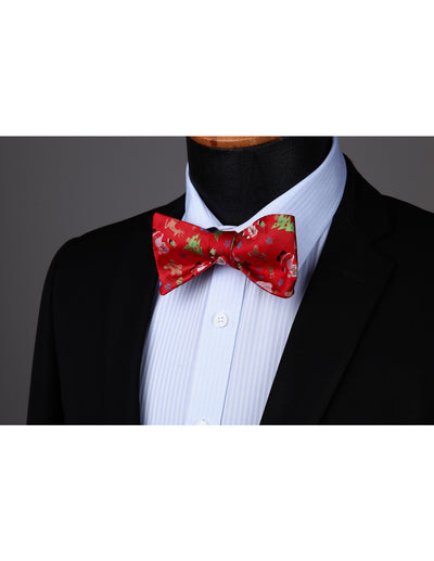 Christmas Red, Green Silk Bowtie Set