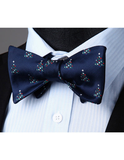 Christmas Navy Blue Red Silk Bowtie Set