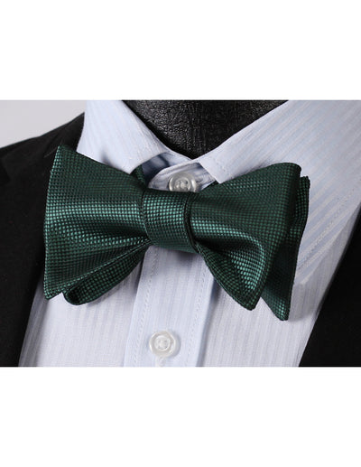 Pure Green Jacquard Silk Bow Tie Set