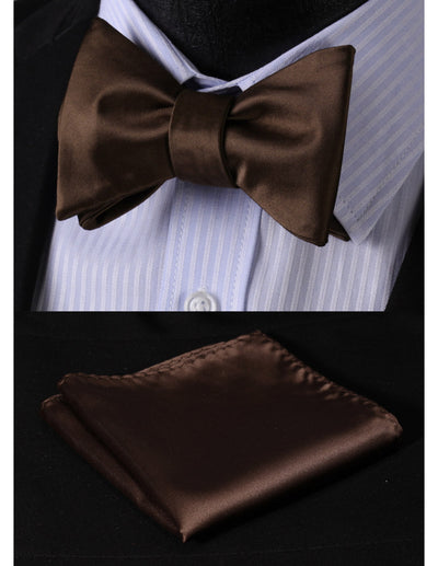 Solid Brown Jacquard Silk Bow Tie Set