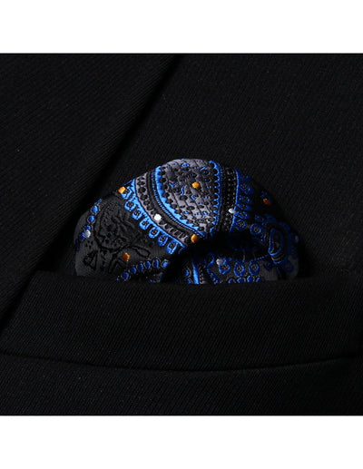 Black, Blue Paisley Polka Dots Silk Bow Tie Set