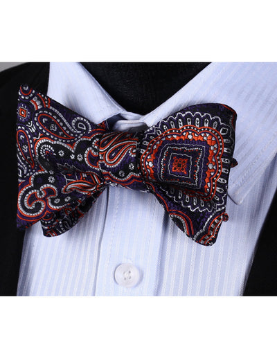 Purple, Orange Paisley Silk Bow Tie Set