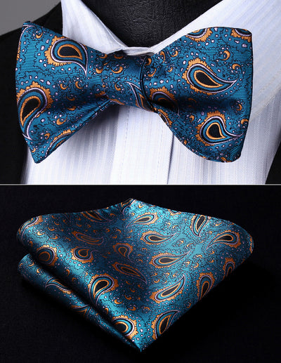 Aqua, Orange, Black Paisley Silk Bow Tie Set