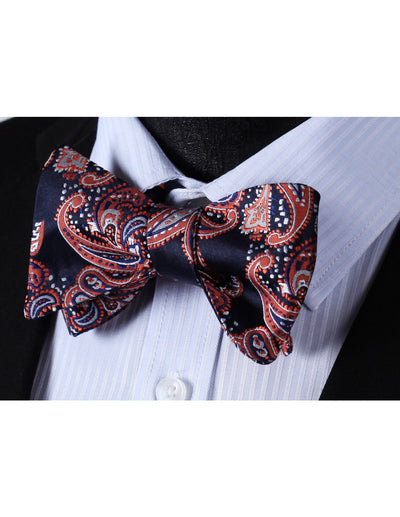 Navy Blue, Orange, Gray Paisley Silk Bow Tie Set