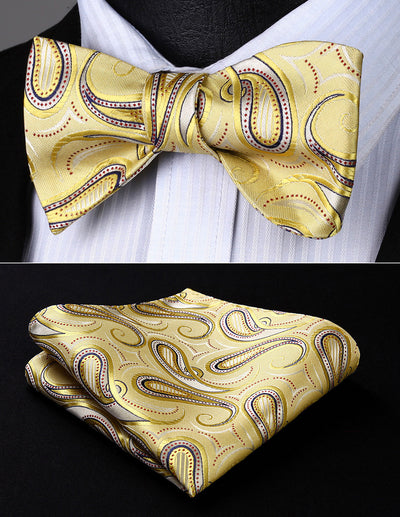 Gold, Red Paisley Silk Bow Tie Set