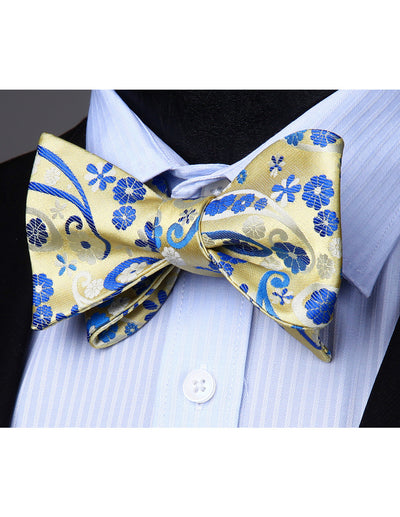 Beige, Blue Floral Silk Bow Tie Set