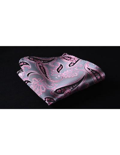 Pink, Gray Floral Silk Bow Tie Set