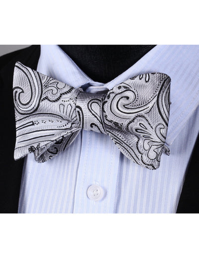 Gray, Black Paisley Silk Bow Tie Set