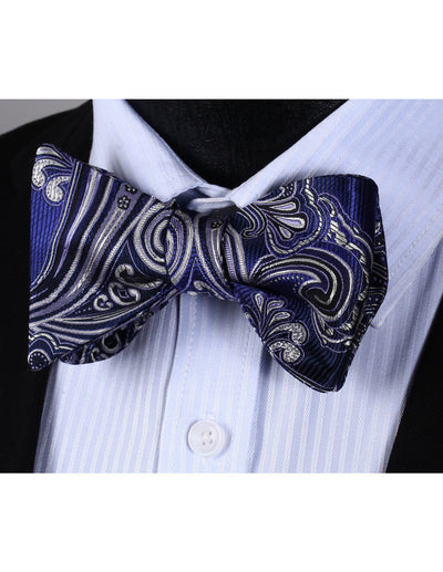 Purple, Gray Paisley Silk Bow Tie Set