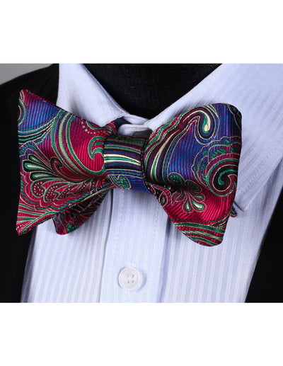 Red, Green, Blue Paisley Silk Bow Tie Set