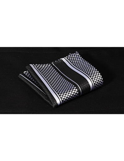 Black White Check Silk Bow Tie Set
