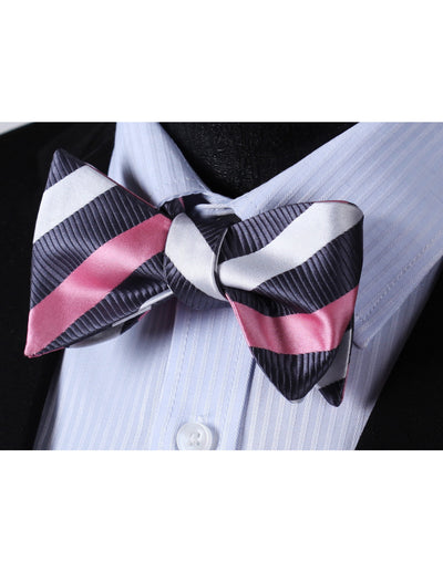 Pink, Gray And White Striped Silk Bow Tie Set