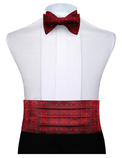 Red Jacquard White Polka Dots Silk Cummerbund Set