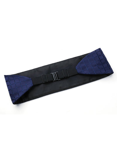 Blue Jacquard Check Silk Cummerbund Set