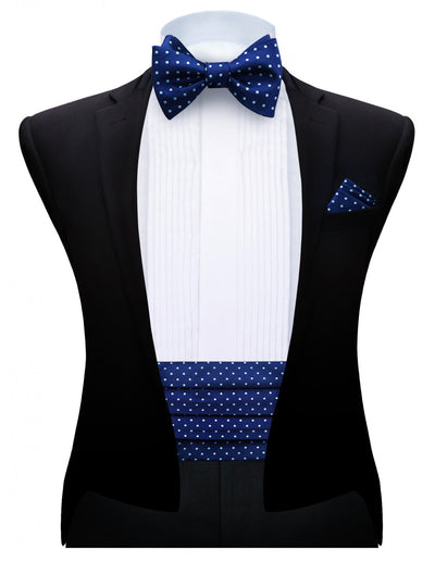 Blue White Polka Dots Silk Cummerbund Set