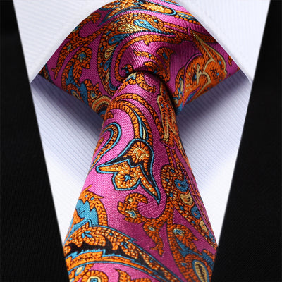 Pink Orange Floral Jacquard Silk Necktie Cufflinks Set