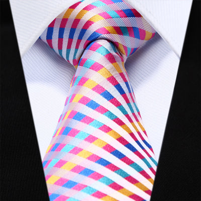Pink Yellow checks Plaid Tie Cufflinks Hanky Set