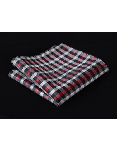 Red Black Check Silk Pocket Square