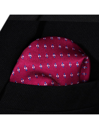 Burgundy Blue And White Dots Check Silk Pocket Square